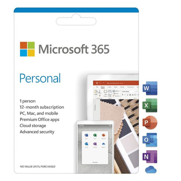 Microsoft Office 365 Personal 1 Card - Media less Activation Card - Microsoft Word - Microsoft Office for Personal