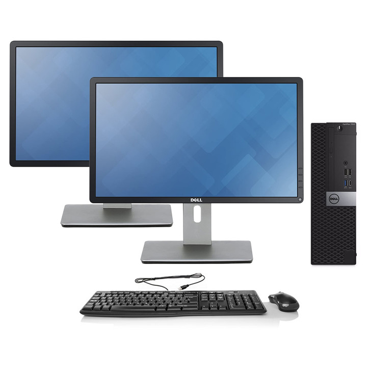 Dell OptiPlex 7050 SFF Desktop - Intel Core i7-7700, 16GB RAM, 512GB SSD   Dual Monitor Package