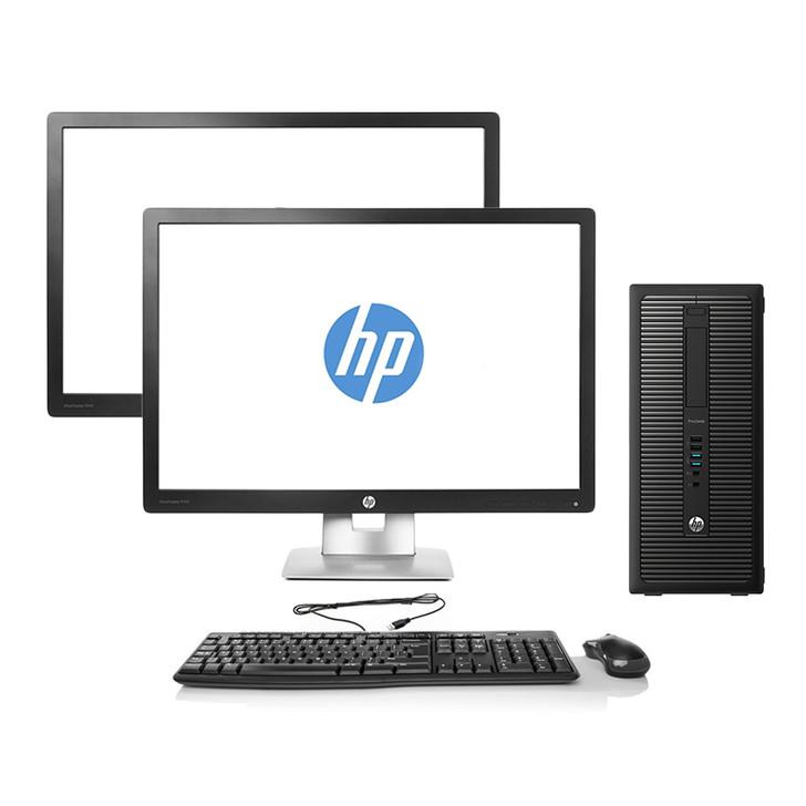 HP ProDesk 600 G1 Tower Desktop - Intel Core i7-4770, 16GB RAM, 500GB HDD | Dual Monitor Package