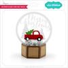 3D Snow Globe Card Red Truck