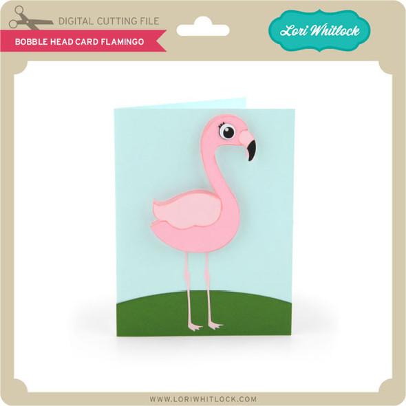 Bobble Head Card Flamingo