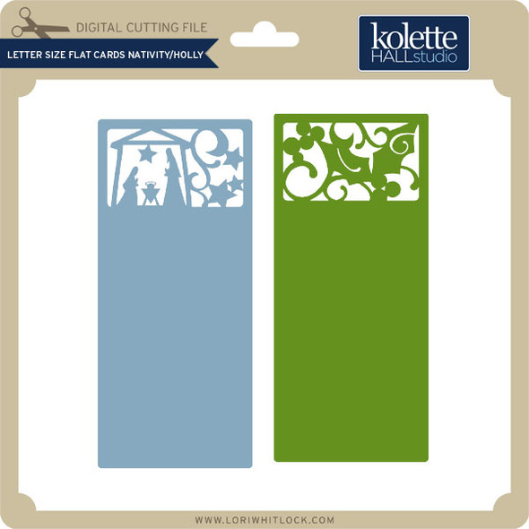 Letter Size Flat Cards Nativity Holly