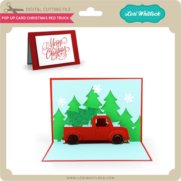 Pop Up Card Christmas Red Truck