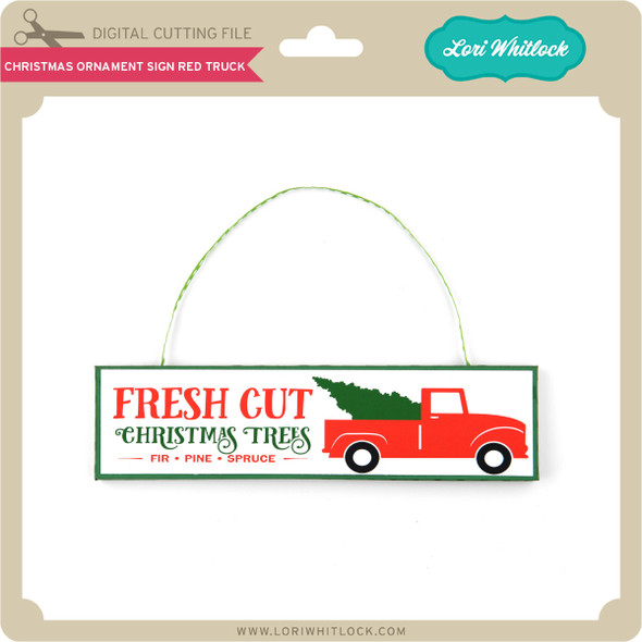 Christmas Ornament Sign Red Truck