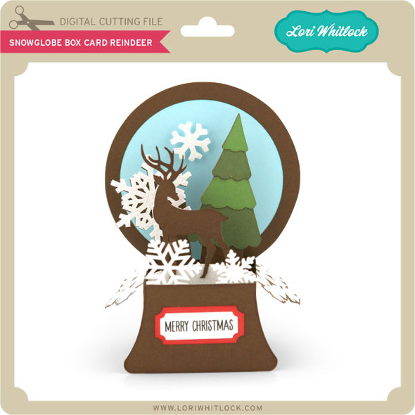 Snowglobe Box Card Reindeer