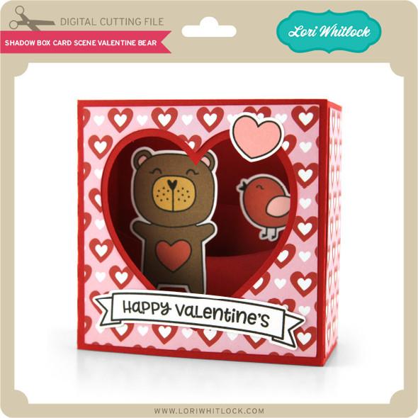Shadow Box Card Scene Valentine Bear
