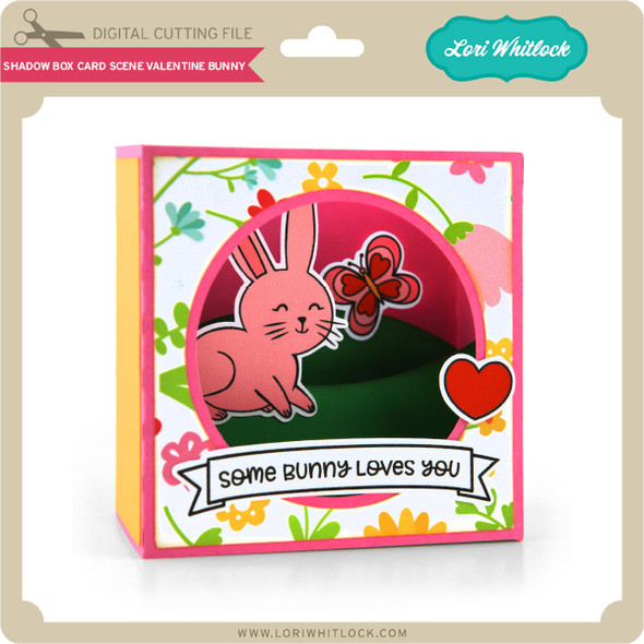 Shadow Box Card Scene Valentine Bunny