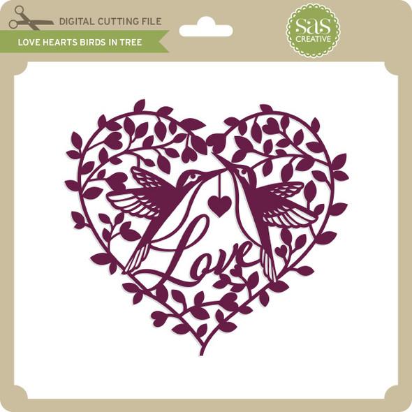Love Heart Birds in Tree