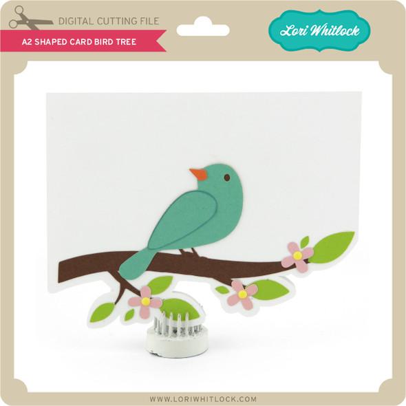 A2 Shaped Card Bird Tree