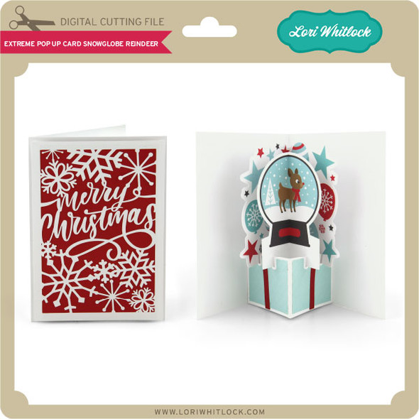 Extreme Pop Up Card Snowglobe Reindeer