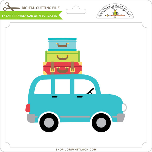 I Heart Travel - Car with Suitcases