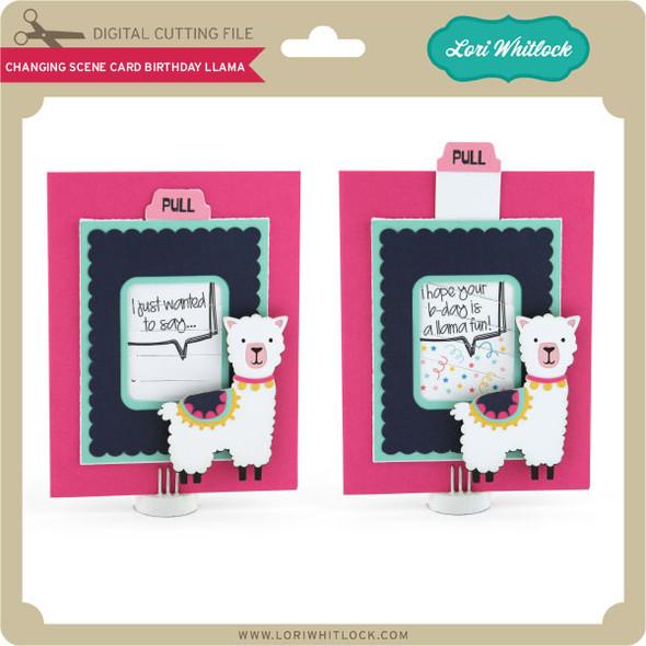 Changing Scene Card Birthday Llama