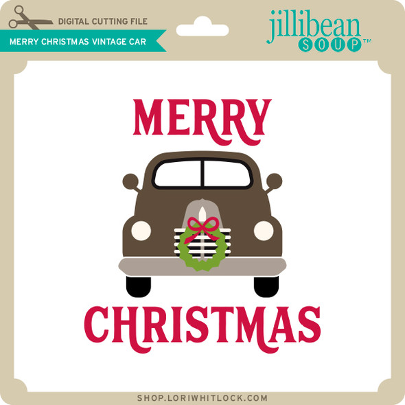 Merry Christmas Vintage Car