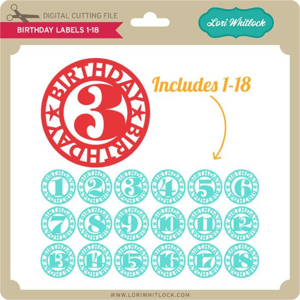 Birthday Labels 1-18