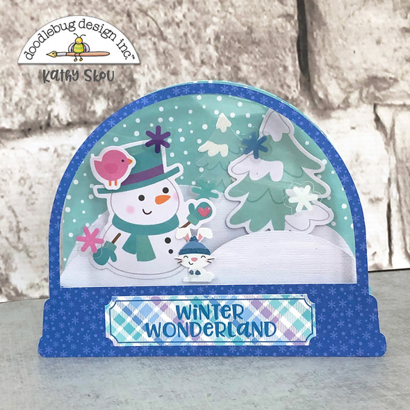 Snow Globe Card Base used with embellishments from the Doodlebug Design Winter Wonderland Paper Collection.