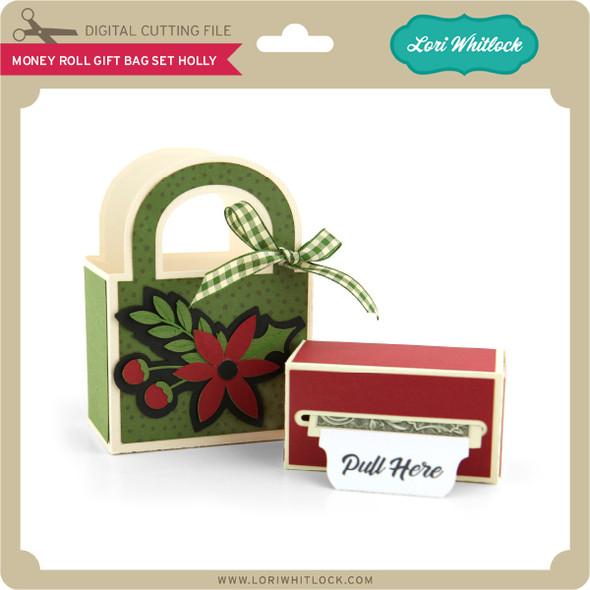 Money Roll Gift Bag Holly