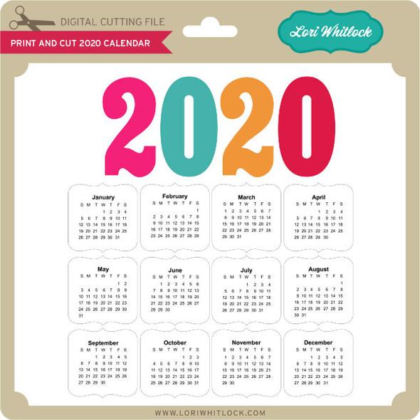 Print And Cut 2020 Calendar