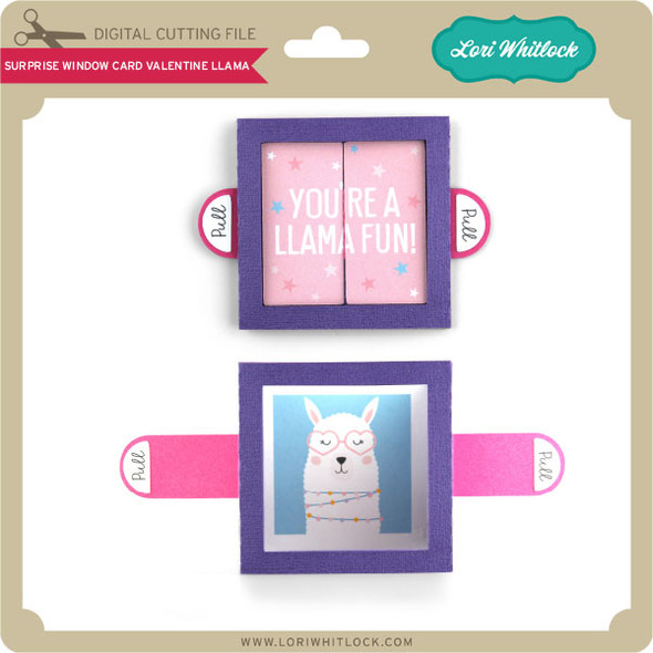 Surprise Window Card Valentine Llama