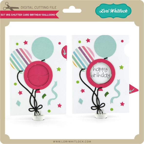 5x7 Iris Shutter Card Birthday Balloons