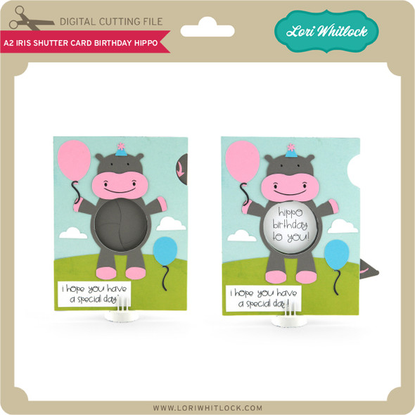 A2 Iris Shutter Card Birthday Hippo
