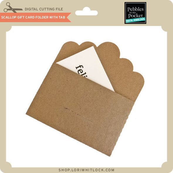 Scallop Gift Card Folder with Tab