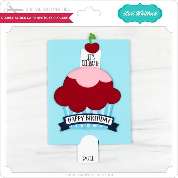 Double Slider Card Birthday Cupcake