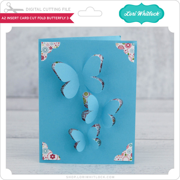 A2 Insert Card  Cut Fold Butterfly 3