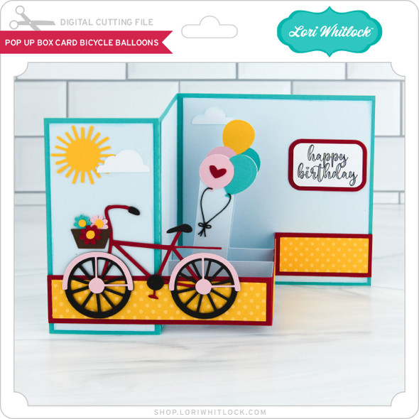 Pop Up Box Card Bicycle Balloons