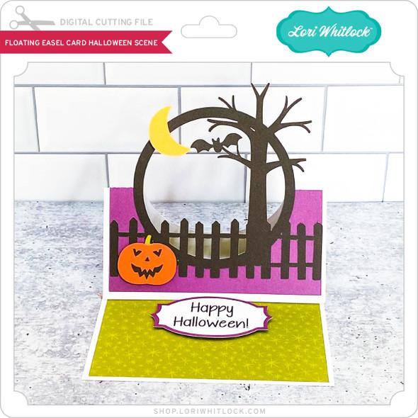 Floating Easel Card Halloween Scene