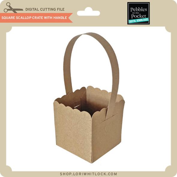 Square Scallop Crate wth Handle