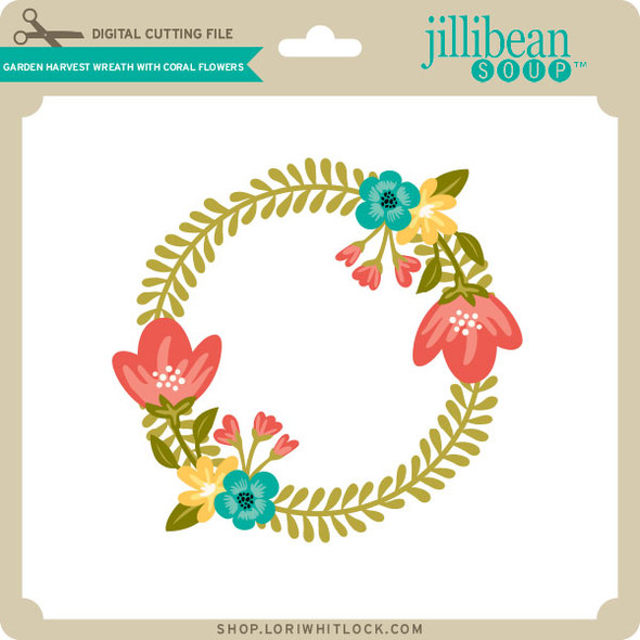 Garden Harvest Wreath with Coral Flowers