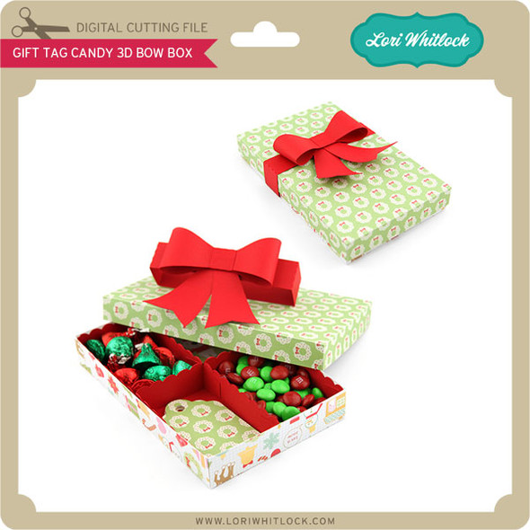 Gift Tag Candy 3D Bow Box