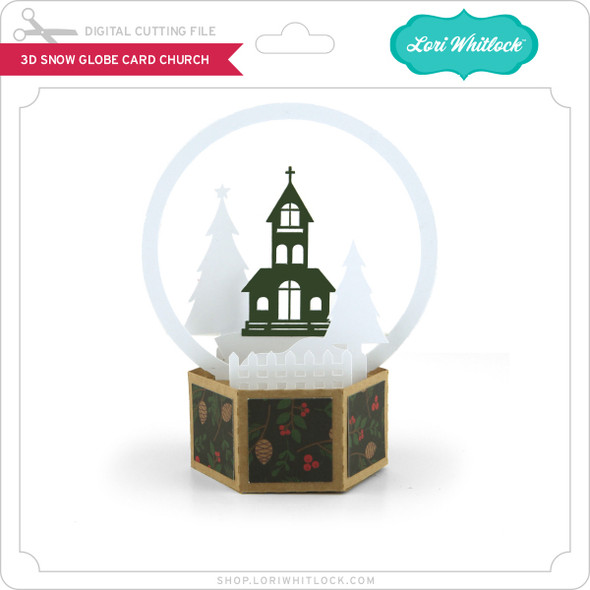3D Snow Globe Card Church