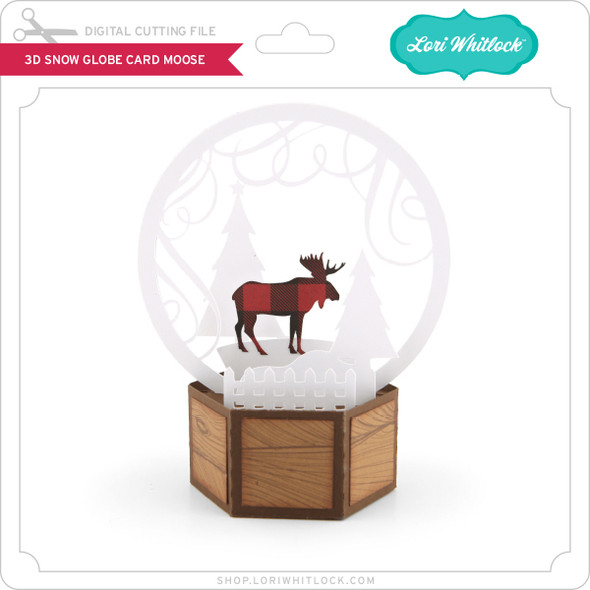 3D Snow Globe Card Moose