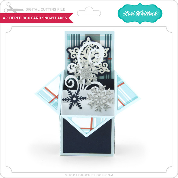 A2 Tiered Box Card Snowflakes