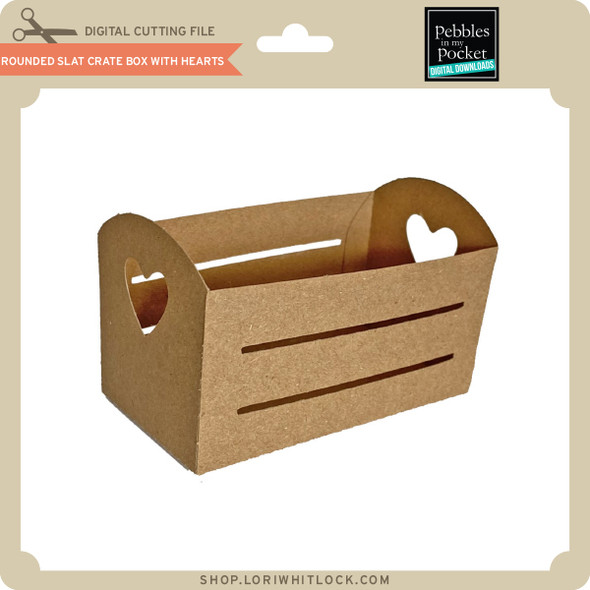 Rounded Slat Crate Box with Hearts
