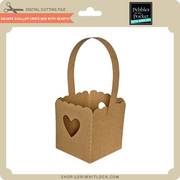 Square Scallop Crate Box with Hearts