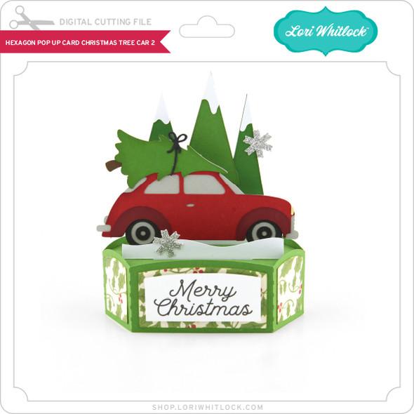 Hexagon Pop Up Card Christmas Tree Car 2