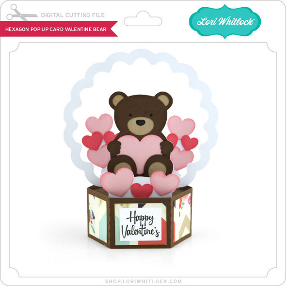 Hexagon Pop Up Card Valentine Bear