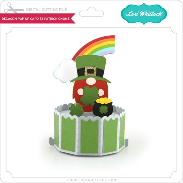 Decagon Pop Up Card St Patrick Gnome