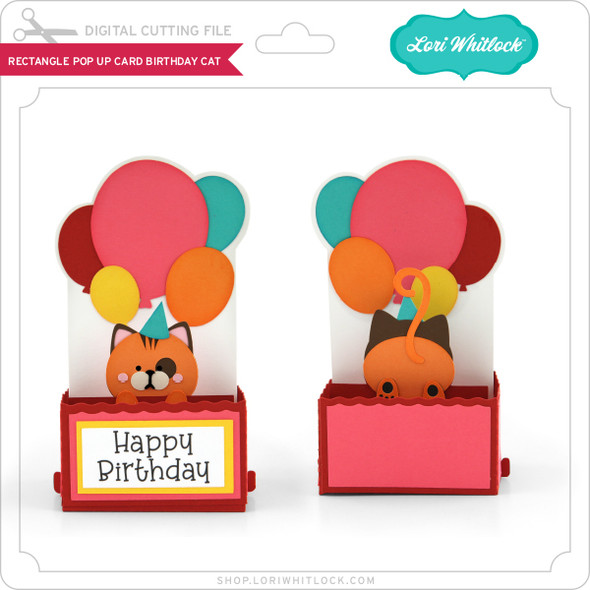 Rectangle Pop Up Card Birthday Cat