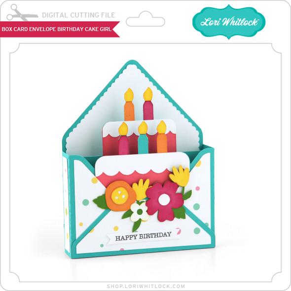 Box Card Envelope Birthday Cake Girl