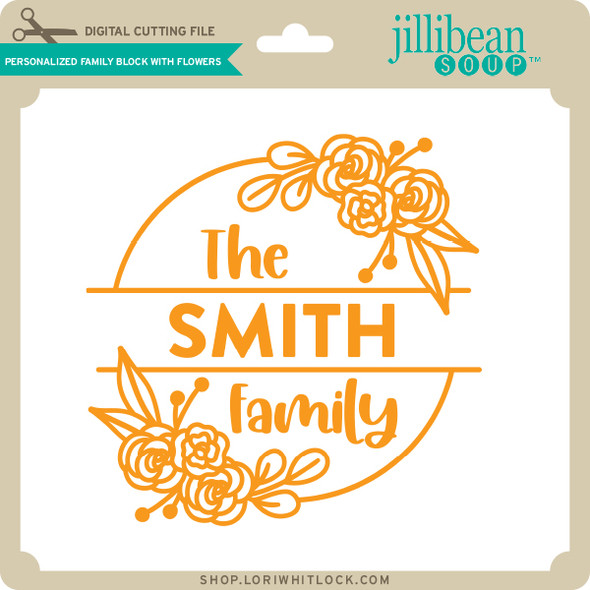 Personalized Family Block with Flowers