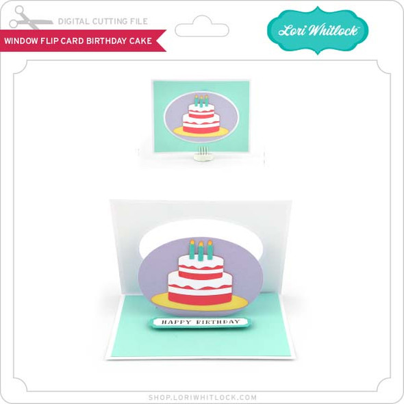 Window Flip Card Birthday Cake