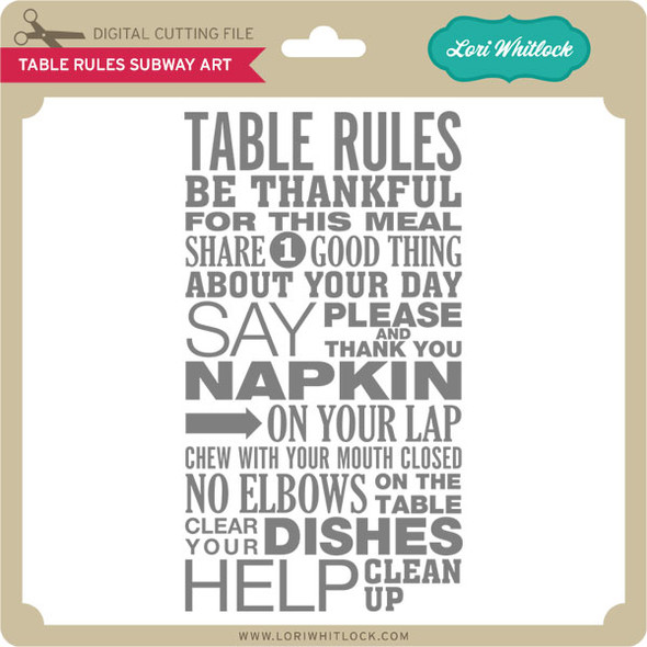 Table Rules Subway Art