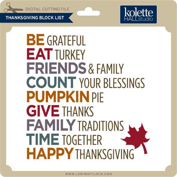 Thanksgiving Block List