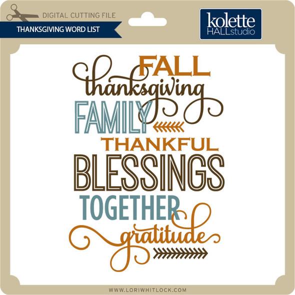 Thanksgiving Word List