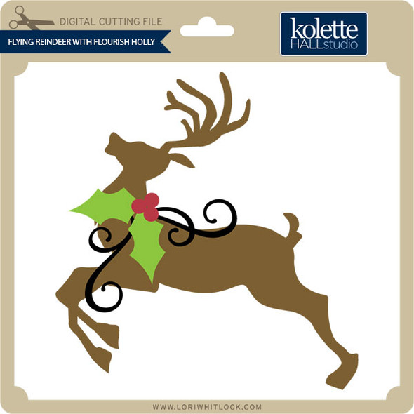 Flying Reindeer with Flourish Holly