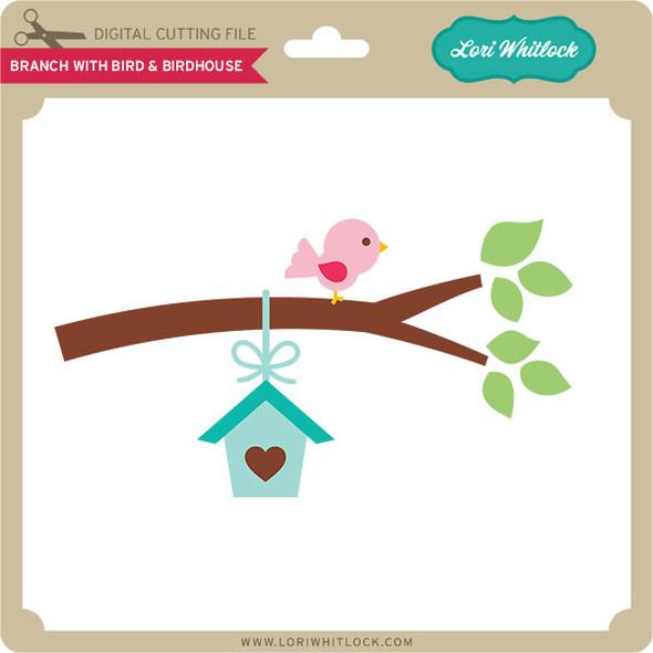 Branch with Bird & Birdhouse
