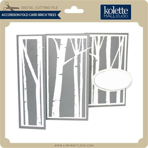 Accordion Fold Card Birch Trees